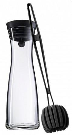 WMF Basic Wasserkaraffe 1,0 Liter schwarz mit Reinigungsbürste