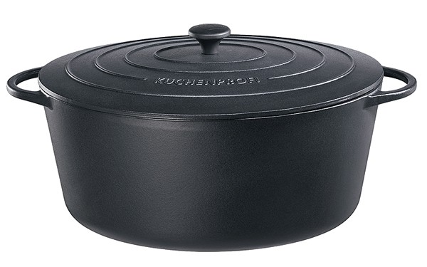 Küchenprofi Provence Bratentopf oval mit Gussdeckel 40 cm schwarz