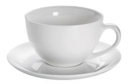M&W White Basics Round Jumbotasse mit Untertasse 0,45 L