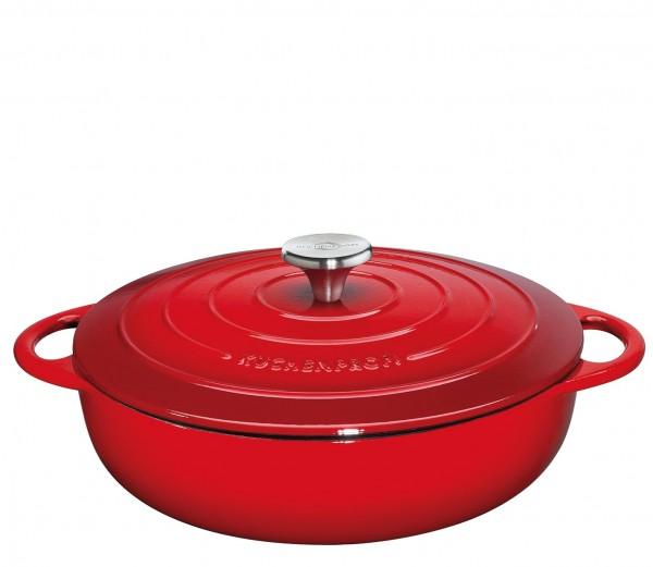 Küchenprofi Provence Gourmetpfanne mit Gussdeckel 28 cm rot