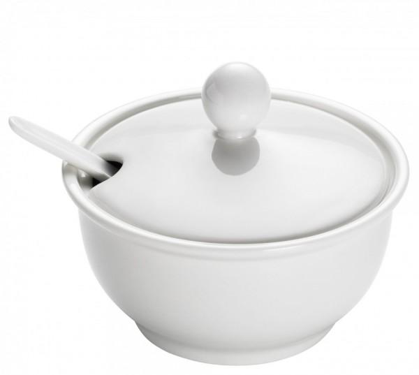M&W White Basics Round Konfitürenschale mit Löffel 0,1 L