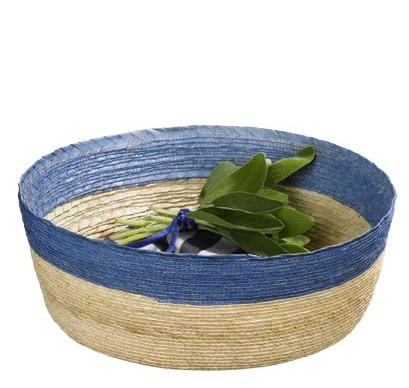 ASA Makaua Korb rund natur mit hellblauem Rand 27,0 cm