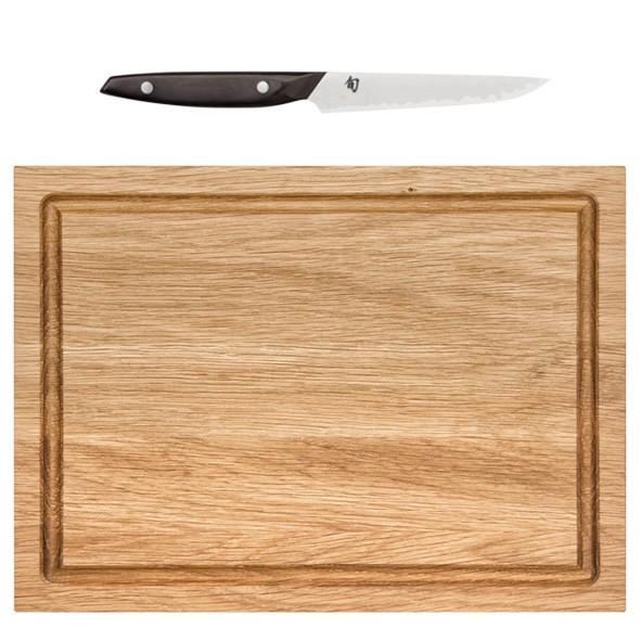 KAI SHUN BBQ Set Steakmesser mit Eichenholzbrett
