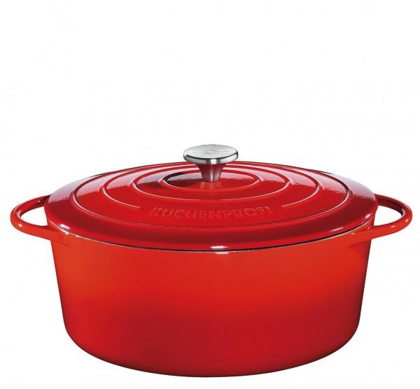 Küchenprofi Provence Bratentopf oval mit Gussdeckel 31 cm rot