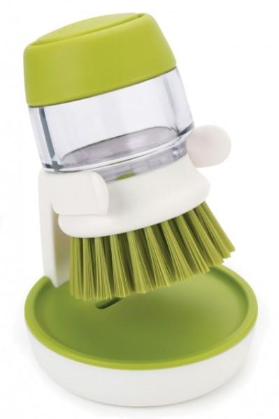 Joseph Joseph Palm Scrup Handspülbürste mit Spülmittelspender und Ständer grün/weiß