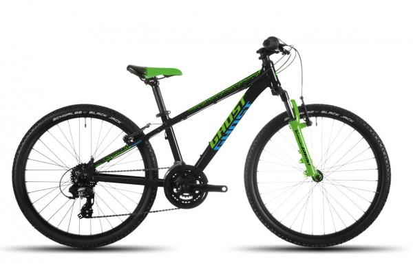Ghost Powerkid Mountainbike 24 Zoll schwarz/grün/blau