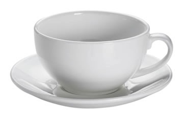M&W White Basics Round Cappuccinotasse mit Untertasse 0,31 L