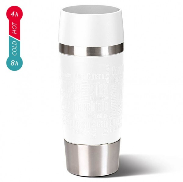 Emsa Travel Mug Thermobecher Soft-Touch-Manschette weiß 0,36 L