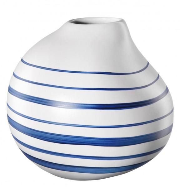 ASA Living Vase Calabash weiß matt mit blauen Streifen 16 cm