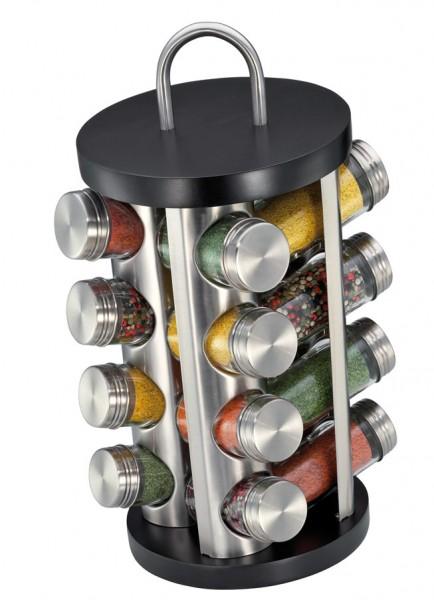 Küchenprofi Gewürzständer mit 16 Gläsern rund 20 cm schwarz